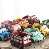 Wholesale ceramic vase blue - Plants Flowerpot Zakka Retro Cartoon Vintage Car Truck Ceramic Vase Pot Home Office Decoration Mini Garden Planters 5cr V