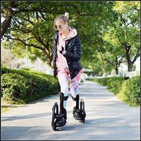ingrosso pattini a rulli delle ruote sportive-Outdoor Sport Street Slip Rubber Roller Skate 16 pollici 2 Grandi ruote pattini pattinaggio in linea Taglia 34-43cm Freeline Skateboard TF-02