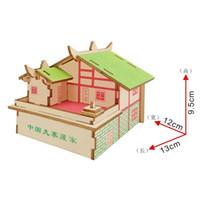 3d bulmaca ahşap ev toptan satış-Lulong 3D Ahşap Bulmaca 3D ahşap Bilmecenin Woodcraft Montaj Kiti-17 adet Parçaları ile Jiuzhai Tibet Evi