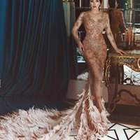 Wholesale See Through Feather Dresses - Sexy Dubai Mermaid Prom Dresses Beads Applique Long Sleeeves See Through Party Dress Glamorous Lxuxry Feather Train Celebrity Evening Dress
