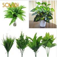 yapay yeşil bush toptan satış-Bitkiler Kapalı Açık Sahte Çiçek Yaprak Yeşillik Bush Ev Ofis Bahçe Dekor Yapay Yeşil Bitki Dekorasyon Bırakın
