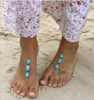 fußkettchen zubehör großhandel-Türkis Perlen Strand Braut Füße Knöchel Armband Frühling Kette Weibliche Fußkettchen Fuß Schmuck Kette Braut Zubehör Ein Bein Diamant Schmuck