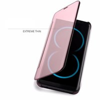 Wholesale Galaxy Sleep Wake Case - For Samsung S9 Case Electroplate Clear Smart Mirror View Flip Cover Sleep wake Phone Case with Kickstand For Samsung galaxy s9 s9 plus