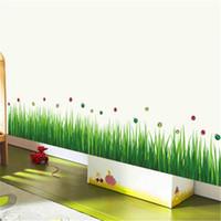 ingrosso adesivi di arte del bagno-Adesivi murali erba verde fresca bambini soggiorno camera da letto bagno Cucina vivaio balcone Home Decor Art Wall Sticker