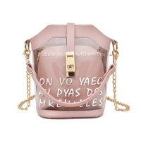 Wholesale small beach buckets resale online - 2018 Clear Bucket PU leather Shoulder Bag Barrel Shaped Small Mini Handbags Summer Beach Bags Composite Chain Women Messenger QF