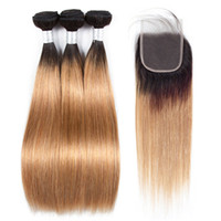 Wholesale 1b 27 human hair weave - Pre-colored Raw Indian Hair 3 Bundles with Closure 1b 27 Ombre Blonde Straight Human Hair Weaves Bundles with Closure 100% Human Hair