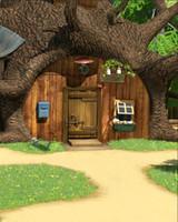 porta de pano de fundo venda por atacado-5x7FT Masha Bear Tree House Porta de madeira do jardim verde personalizado Photo Studio Background Backdrop Vinil 150 cm x 220 cm