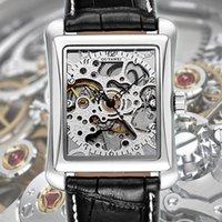 квадратные мужские часы механические оптовых-Square Mechanical Watches Mens Watches  Automatic Watch Golden Case Male Clock Black Mechanical Watch OUYAWEI