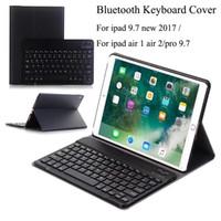ultra dünne bluetooth tastatur großhandel-Für neue ipad 9.7 2017 a1822 a1823 drahtlose bluetooth tastatur ultradünne pu-leder + abs tastatur abnehmbar für ipad air 1/2