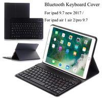 ultra ince bluetooth klavye toptan satış-Yeni Ipad 9.7 için 2017 A1822 A1823 Kablosuz Bluetooth Klavye Ultra Ince PU Deri + ABS Klavye Çıkarılabilir Ipad hava Için 1/2