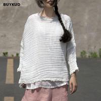 Wholesale woman white plain shirt - BUYKUD Distressed Plain White Women's T-shirt Casual Round Neck Three Quarter Sleeve Top Vintage Loose Cotton Tee