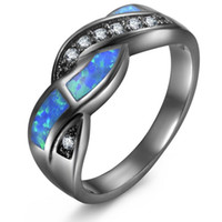 Wholesale opal engagement rings for women for sale - Group buy designer jewelry rings for women black gold opal band rings simple hot fashion free of shipping