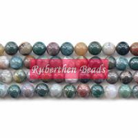 indische steinperlen großhandel-NB0025 Natürliche Indian Achate Phantasie Perlen Großhandel DIY Armband Perlen Top Menge Lose Stein 8mm Runde Perlen für Schmuck