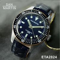 wasserdichte uhrenringe großhandel-San Martin Männer Damaskus Taucheruhr Schweizer Automatikwerk Uhr 200 Wasserdicht Bronze Ring Retro Armbanduhr Sixty-Five
