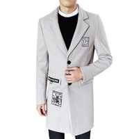 homens korean jaquetas longas venda por atacado-Outono Inverno Homens Longas Secções Grossas De Lã Masculina Casual Moda Jaqueta Quente Versão Coreana Da Carta Colar De Lã De Lã