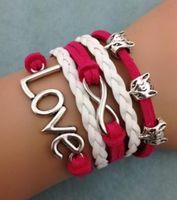 браслет бесконечности моды оптовых-Wholesale- 2016 Fashion Girls Jewelry Wrap Multilayer DIY Leather Braided Rope Wristband Red Infinity Fox Love Bracelets & Bangles