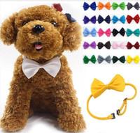 pajaritas para gatos al por mayor-Venta al por mayor 100 Unids / lote Tocado para Mascotas Corbata de perro Corbata de lazo para perros Corbata de Gato Suministros de aseo para mascotas Multicolor