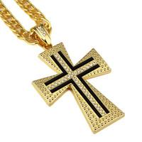 Wholesale Males Silver Pendants - 2018 Male Female Gold Cross Pendant Necklace Hip-hop Cuban Chain Gold Silver Color For Men Women Jewelry