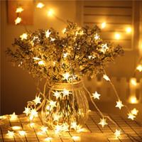 mini yıldız led toptan satış-Yıldız Peri LED Fash Işık 3 M 6 M 10 M LED Dekoratif Işık Pil ile USB Tatil Noel Partisi Için LED Noel Dize Işık