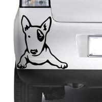 art noir blanc vert achat en gros de-Style de voiture pour MIGNON Bull Terrier chiot chien Wall Art Home Sticker Animal Decal Pet Vinyle Décor