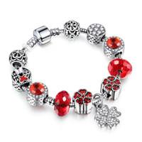 ingrosso grandi braccialetti di rame-Monili di modo Braccialetto di fascino DIY delle donne europee Braccialetto di cristallo grande di lusso Braccialetto del fiore Braccialetti di rame placcati d'argento del braccialetto per le donne