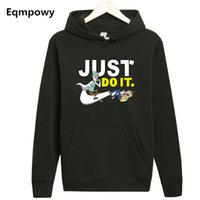 Wholesale wholesale streetwear sweatshirts - Wholesale- Eqmpowy Men Fleece Hooded Rick and Morty Hoodie Cartoon Anime Fans Hoodies Men Streetwear Sweat Homme Rick and Morty Sweatshirt