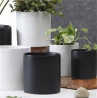 ingrosso ceramic pots white-Flowerpot Dumb Light Nero Bianco Colore Ceramica Minimalismo Home Decor Personalità Originalità Eco Friendly Flower Pots Squisito 10 5xc2 jj