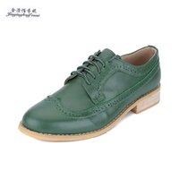 imagem sapatos de couro venda por atacado-Moda novo Vídeo de imagens reais verde oxford sapatos de Couro Genuíno para as mulheres Vintage Handmade sapatos baixos Plus Size sapatos Mulher