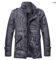 ingrosso rivestimento di cuoio dell'unità di elaborazione del collare alto-Giacca in pelle di alta qualità colletto in piedi per uomo Slim Warm Mens motociclista in pelle lavato giacche