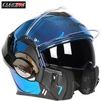 kask koruyucuları toptan satış-LS2 Valiant Kask Sistemi Modüler Motosiklet Kaskı Tam Yüz İkiz Kalkan Casque Moto Kasko Kentsel Kasklar 180 çevir