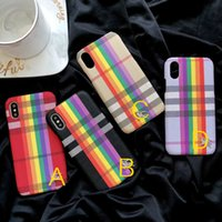 Wholesale rainbow iphone covers - PU phone case for iPhone 7 7plus 8 plus X colorful rainbow back cover famous potective shell for iPhone 7 8 plus