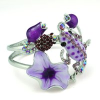 Wholesale Flower Frogs - whole saleIdealway Women Silver Plated Bangle Bracelet Rhinestone Flower Fashion Enamel Glaze Frog Cuff Bracelets Party Jewelry pulseras