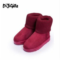 Wholesale shoes cuffs - 2018 women classic snow boots Knitting Wool cuff Patchwork Female ug Australian Warm Plush furry cotton Flat shoes