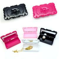 ingrosso organizzazione del trucco-Di alta qualità acrilico rettangolo bianco / rosa / rosa / nero rosa fiore ciglio scatola di immagazzinaggio specchio custodia trucco cosmetico organizzare kit di strumenti