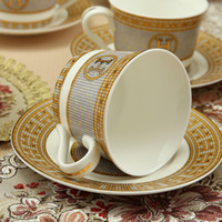 """Wholesale porcelain cup saucer set - Porcelain coffee cup and saucer bone china coffee set """"H"""" mark mosaic design outline in gold tea cup and saucer set saucer set"""