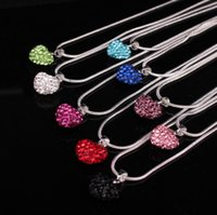 Wholesale silver shamballa pendant resale online - Fashion Love Heart Crystal Beads Shamballa Necklace Silver Plated Rhinestone Pendant Women Jewelry Valtine s Christmas Gift