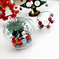 Wholesale Clear Plastic Xmas Balls - 10pcs lot 4cm Plastic Clear Christmas Decoration Hanging Ball Baubles Transparent Round Bauble Ornament Xmas Tree Home Party