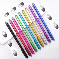 Wholesale Lengthen Metal Replaceable Micro Knit Tip Hybrid Stylus Pen Capacitive Screen Pen For ipad iphone Tablet Samsung Galaxy Tab Kids
