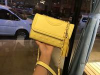 sac en chaîne jaune achat en gros de-2018 nouvelle dame mode chaude femme sac à main lettre T conception chaîne cuir bandoulière covertible Diamond Lattice sac à bandoulière jaune