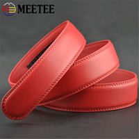 Wholesale Product Width - New Product Widen Automatic Buckle Belt Guaranteed Red Genuine Leather Belt Affordable Width 3.5Cm Belt Strip