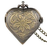 relógio de bolso de quartzo coração venda por atacado-Delicada Flor Escultura Senhora Relógios De Bolso Criativo Forma de Coração de Quartzo Fob Relógio Menina Vestido Pingente Presentes Do Valentim