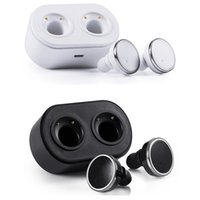 seguimiento de cable al por mayor-Q800 Twins True Auriculares inalámbricos Bluetooth V4.1 Auriculares intrauditivos Auriculares de doble vía con estación de carga Caja de manos libres para teléfonos inteligentes