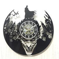 batman relógios de parede venda por atacado-Batman originalidade acrílico preto vinil despertador goma cidade do vintage record relógios de parede de decoração para casa 42 hb gg