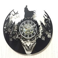 ingrosso orologi batman-Batman Originality Acrilico nero Vinyl Alarm Clock Gum Gotham City Vintage Record Orologi da parete Home Decor 42hb gg