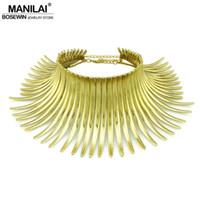 indische goldkragen halskette großhandel-Mode Halskette MANILAI Aboriginal Indian Bending Alloy Aussage Choker Frauen Edle Bib Kragen Halskette Maxi Schmuck Mode Drehmomente groß