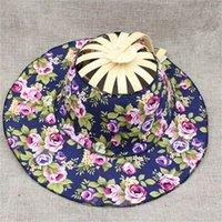 chapéus de palha floridos para mulheres venda por atacado-Mulheres verão Menina Fã Chapéu De Palha Flor Quebrada Tampa de Viagem Hand Held Folding Fãs Forma Ajustável Sol Sombreamento 13ky jj