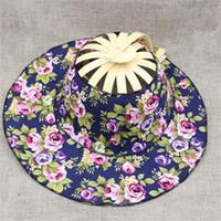 Wholesale broken flowers girl resale online - Summer Women Girl Fan Straw Hat Broken Flower Traveling Cap Hand Held Folding Fans Shape Adjustable Sun Shading ky jj