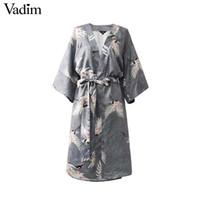 ingrosso reticolo incrociato di arco-Vadim vintage croce con scollo a V floreale vestito della gru modello bow tie telai stile kimono allentato vestidos mujer QZ3681