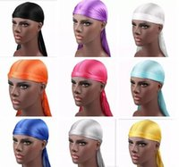 Wholesale wholesale fashion army hats for sale - New Fashion Men s Satin Durags Bandana Turban Wigs Men Silky Durag Headwear Headband Pirate Hat Hair Accessories