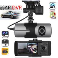 обновление объектива оптовых-2018 модернизированный двойной объектив GPS камеры HD автомобильный видеорегистратор тире Cam видеорегистратор G-сенсор ночного видения Бесплатная доставка